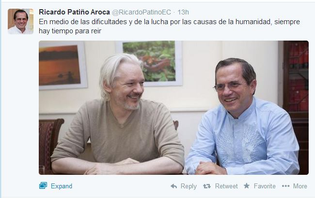 Assange y Patiño 140819
